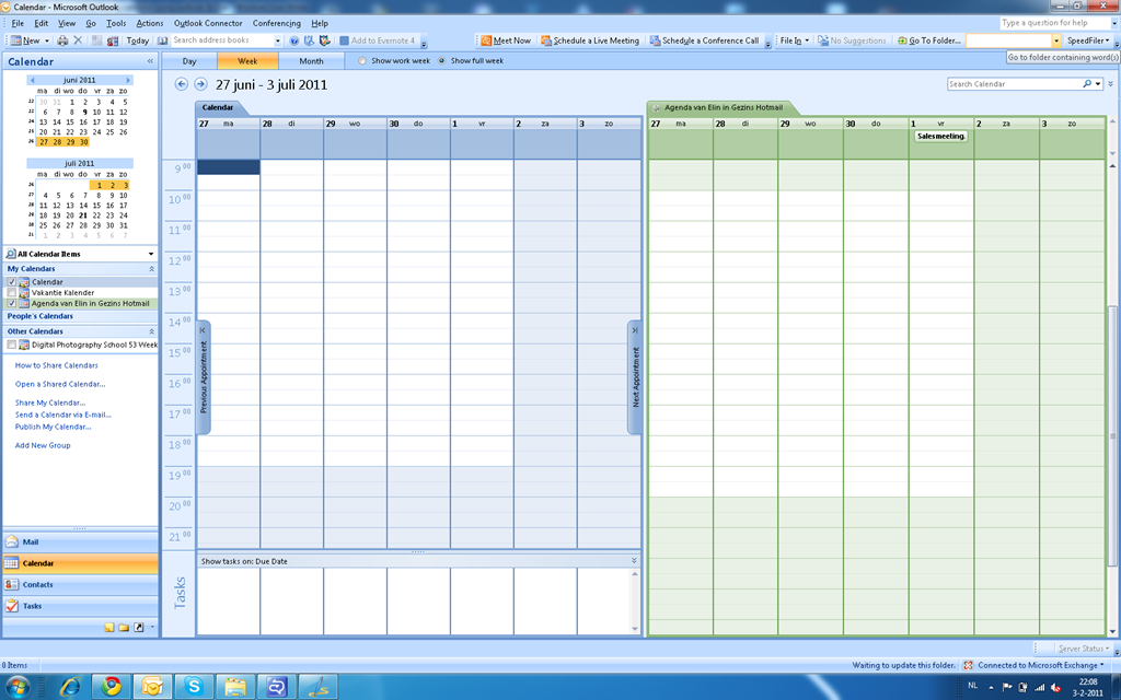 In this image you see the overlay mode in Outlook 2007.